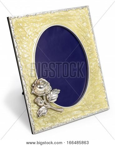 Rich gilded porcelain frame with rose inlaid with rhinestones isolated with empty space
