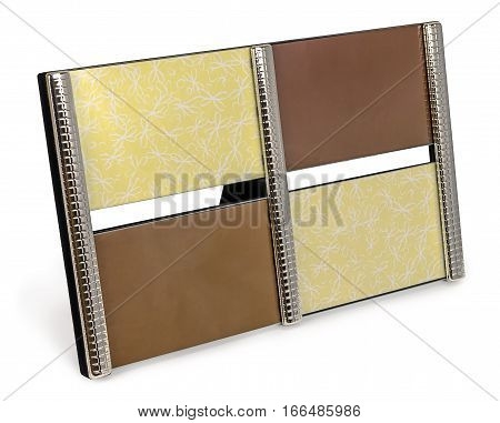 Brown chrome photo frame 4 four sets standing at an angle with empty space on isolated background with empty space