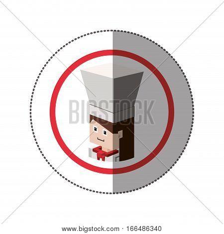 sticker lego with portrait female chef shading vector illustration