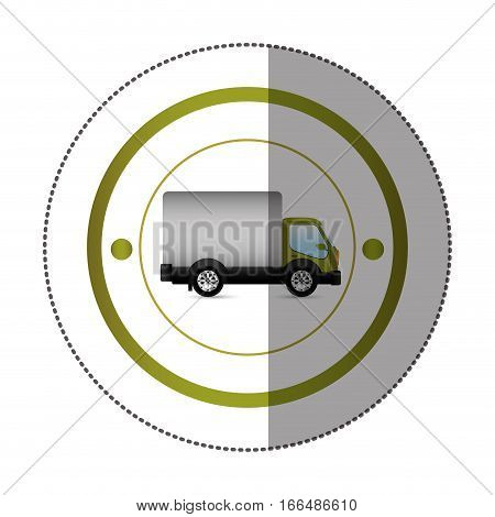 sticker with circular shape with truck and wagon vector illustration