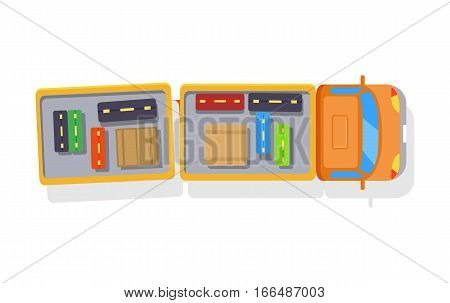 Truck trailer loaded with luggage. Airport transport, lorry, bag, suitcase, valise, box, cargo, freight. Silhouette on white background. Vehicle vector isolated illustration For poster banner card
