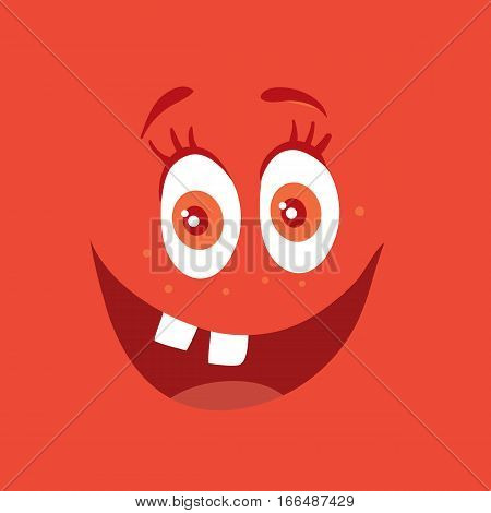Funny smiling monster. Red smile character. Happy germ with tooth. Monster with big eyes and red mouth. Vector cartoon funny bacteria illustration in flat style design. Friendly virus. Microbe face