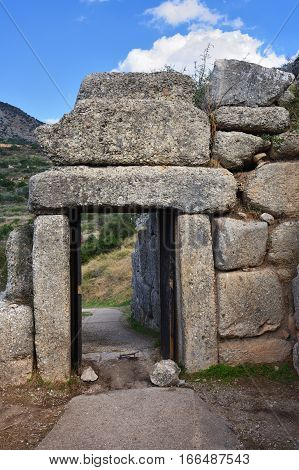 The North Gate. The archaeological sites of Mycenae and Tiryns have been inscribed upon the World Heritage List of UNESCO
