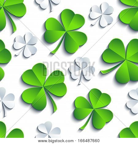 Modern st. Patrick's day background seamless pattern with green white grey stylized 3d leaf clover cutting paper. Spring nature backdrop. Floral trendy stylish wallpaper. Vector illustration