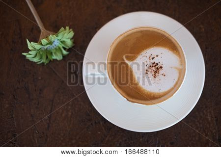 Hot fresh mocha coffee in white cup