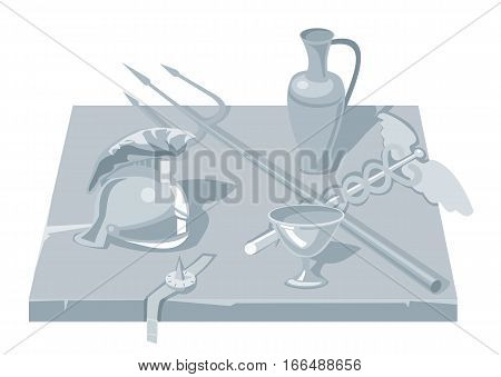 Set greece objects. Pot Helmet cup trident rod. Vector flat illustration. Isolated on white background.