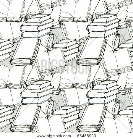 Seamless doodle pattern with books. Library hand drawn sketchy background. Reading and education concept. Black and white illustration.