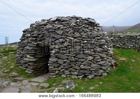 Beehive hut located on the Slea Head Penninsula in Ireland.