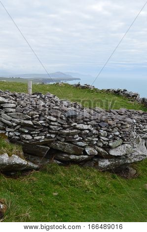Remains of the Clochan beehive huts in Ireland.