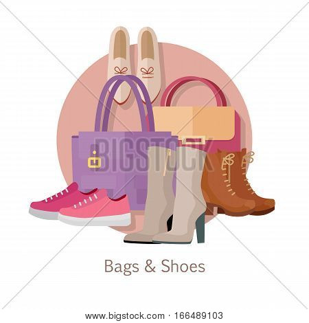 Bags shoes vector concept. Flat style. Collection of women s footwear and clutches. Ankle and mid boots, sneakers, loafers, leather bags with handles illustrations. Fashion accessories. For store ad