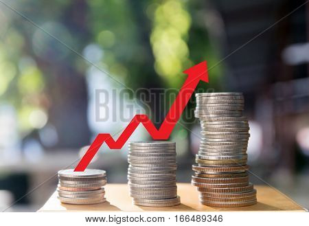 save money, vestment concept, Coins graph stock market