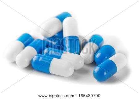 Pile Of  Blue Color Medical Pills On White Background
