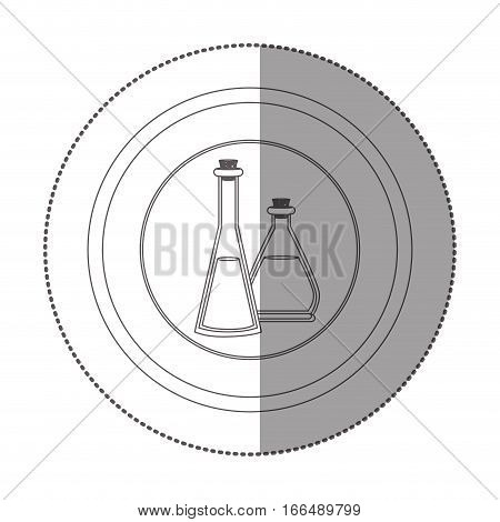silhouette sticker circular shape with glass jars with cork stoppers vector illustration