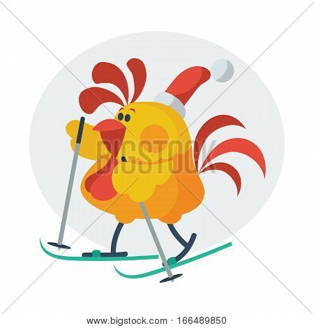 Rooster bird skate on ski. Cock in Santa s hat go in for sport. Chinese calendar zodiac cock horoscope. Chicken character collection in flat. New year xmas greeting card. Vector illustration