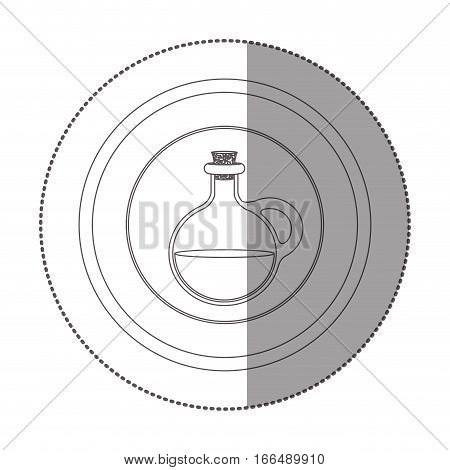silhouette sticker circular shape with rounded glass jar with cork stoppers vector illustration