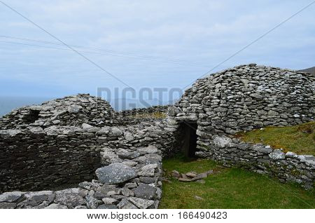 Clochan beehive huts found on the Slea Head penninsula in Ireland.