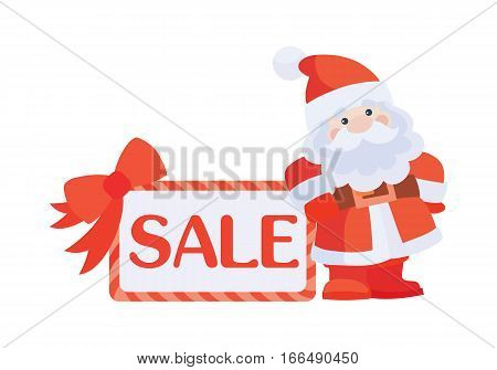 Christmas sale vector icon. Flat design. Santa with sale poster. Simple xmas sticker with text and santa. For winter holidays shopping, discounts ads. Purchase gifts for holidays. On white background.