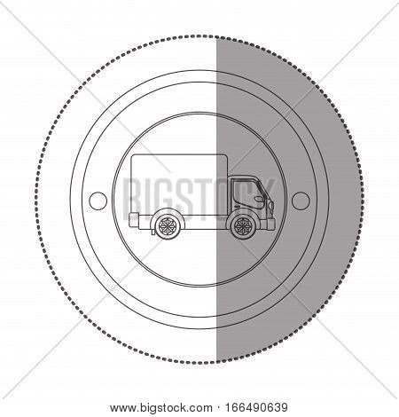 silhouette sticker with circular shape with truck and wagon vector illustration
