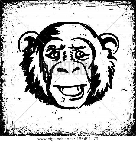 A grunge monkey's head ink sketch style textured background. Vector illustration ape black ink simple doodle