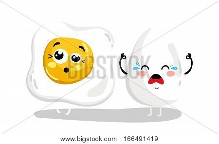 Cute whole and fried egg cartoon character isolated on white background vector illustration. Funny fast food menu emoticon face icon. Worried cartoon face food, comical scrambled egg animated mascot