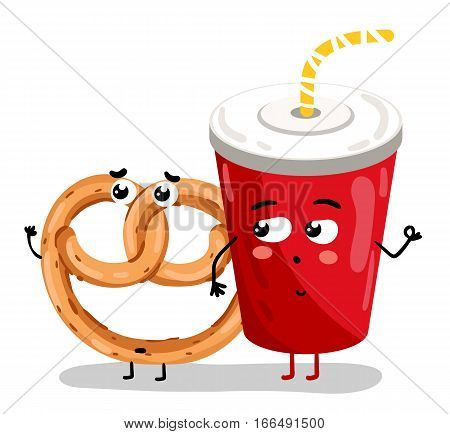 Cute take away glass with straw and bagel cartoon character isolated on white background vector illustration. Funny sweet drink and pastry bakery emoticon face icon. Comical cartoon food emoji mascot