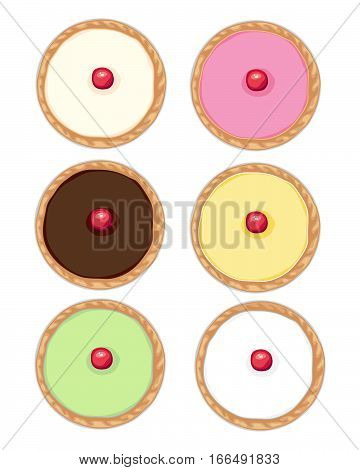 an illustration of six cakes with fondant icing and cherry with golden crust in different colors on a white background