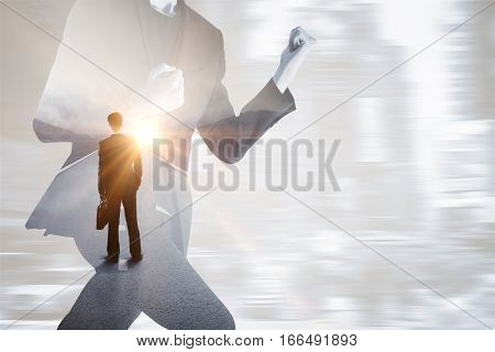 Running businessman on blurry city background dreaming about peace. Lack of time concept. Double exposure