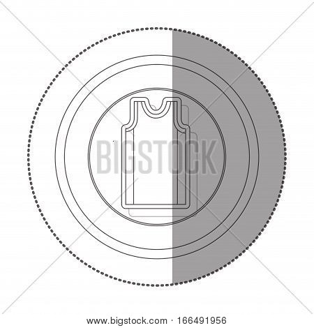 silhouette sticker with circular shape of basketball t-shirt vector illustration