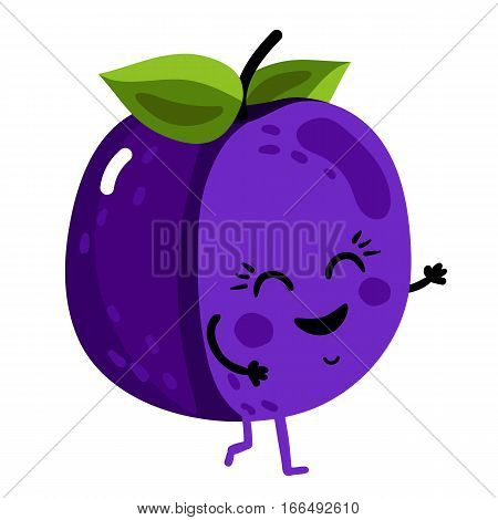 Cute fruit plum cartoon character isolated on white background vector illustration. Funny positive and friendly kiwi emoticon face icon. Happy smile cartoon face food emoji, comical fruit mascot