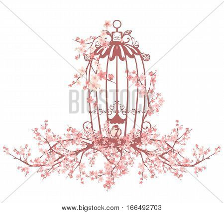 opened bird cage among blooming sakura tree branches - vector design element