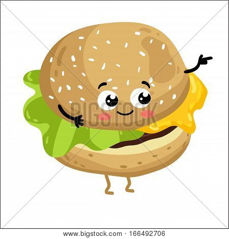 Cute cheeseburger cartoon character isolated on white background vector illustration. Funny fast food restaurant emoticon face icon. Happy smile cartoon face food, comical burger animated mascot