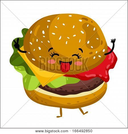 Cute hamburger cartoon character isolated on white background vector illustration. Funny fast food restaurant emoticon face icon. Happy smile cartoon face food, comical burger animated mascot symbol