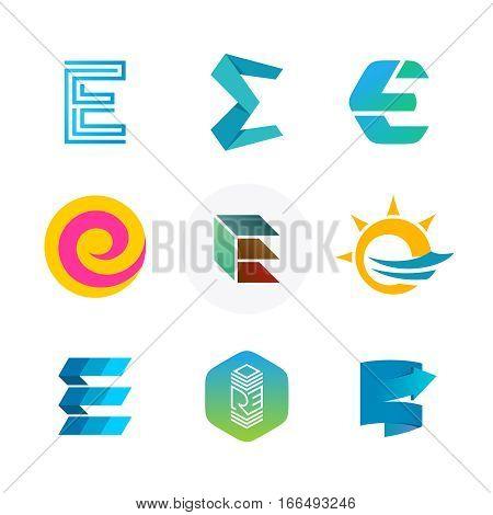 Letter E logo set. Color icon templates design. Set of colorful E letter symbols.