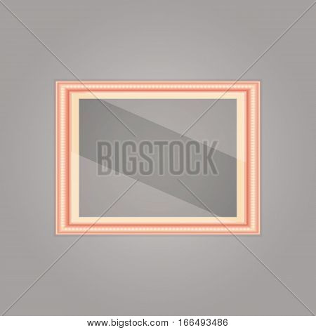 Created pink gold frame with mirror reflection stock vector