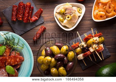 Top View Of Mediterranean Snacks - Tapas