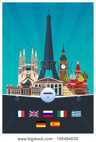 Big Collection Of Travel Posters To The Europe. Schengen. Vecor Flat Illustration.