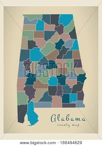 Modern Map - Alabama Coloured County Map Usa Illustration