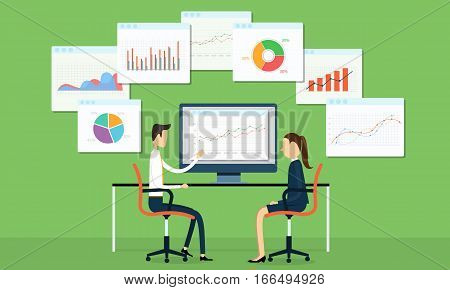 vector business people analyze financial and  marketing graph on monitor and business planning cocept