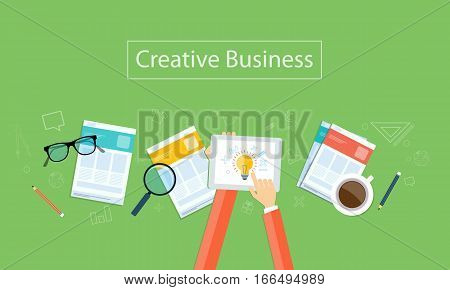 Vector creative business idea background banner  with paper work concept