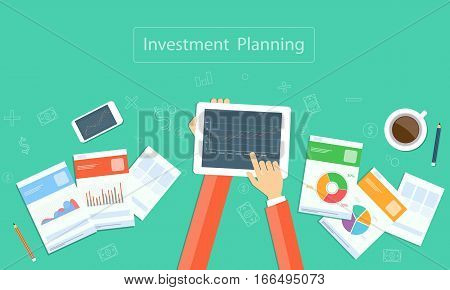 Vector business financial investment planning on device concept with paper graph report