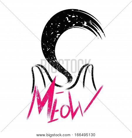Vector illustration kitten calligraphy sign for printing. Cute cat poster with the inscription, the ears and the sound of meow and tail Vintage design.