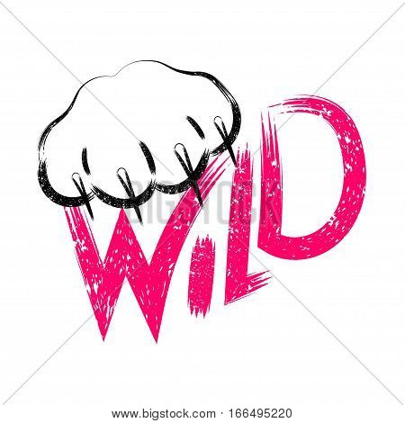 Stock Vector Wild cat calligraphy sign for printing. Cute cat poster with an inscription and wild cat paw with claws