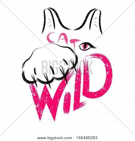 Stock Vector Wild cat calligraphy sign for printing. Cute cat poster with the inscription wild, cat paw with claws, ears and eyes.