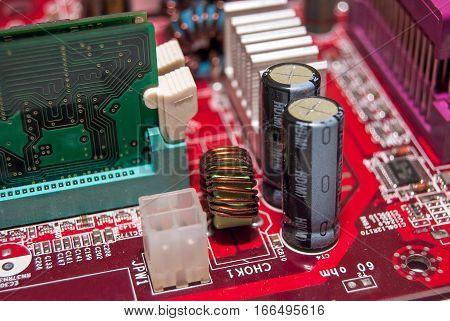 computer motherboard with memory slots macro close up