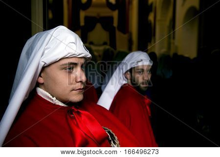Enna, Sicily, Italy - March 25, 2016. Gaze Of A Boy Ready For The Procession On Good Friday