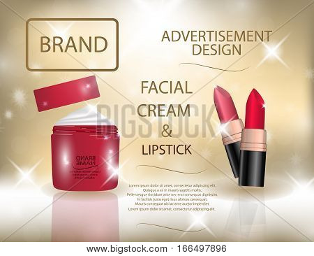 Glamorous colorful lipstick and facial cream on the sparkling effects background. Mockup 3D Realistic Vector illustration for design template