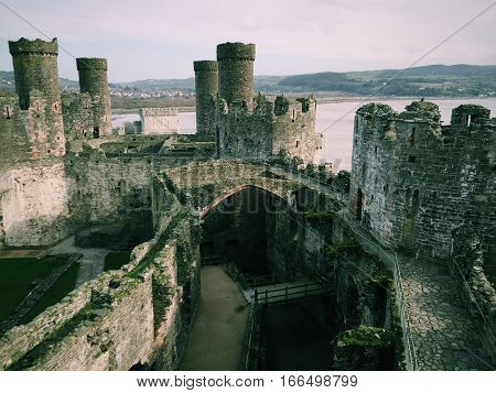 View from a tower in Conwy Castle in Wales