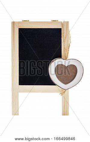 Blank black chalk board with wooden heart shape frame for photo. Isolated on white.