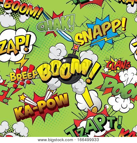 Boom Seamless comics background pop art poster