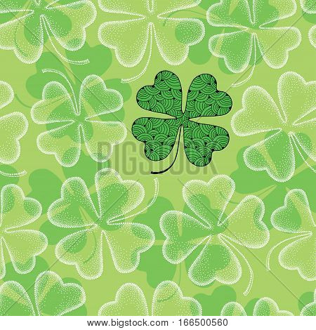 Vector seamless pattern with lucky dotted four leaf clover or shamrock in white on the green background. Traditional symbol for St. Patrick day in dotwork and contour style for floral design.